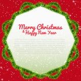 Wesoło bożych narodzeń tło z xmas drzewa ramą Zdjęcie Stock
