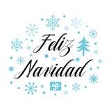 Wesoło bożych narodzeń tekst na śnieżnego kartka z pozdrowieniami projekta szablonu błękitnych płatkach śniegu, drzewa Inskrypcja Zdjęcia Stock