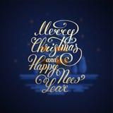 Wesoło bożych narodzeń tekst Szczęśliwego nowego roku literowania wektorowy ilustracyjny projekt EPS 10 więcej toreb, Świąt oszro Zdjęcia Stock