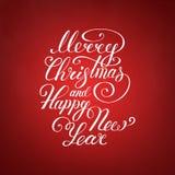 Wesoło bożych narodzeń tekst Szczęśliwego nowego roku literowania wektorowy ilustracyjny projekt EPS 10 więcej toreb, Świąt oszro Fotografia Stock