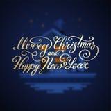 Wesoło bożych narodzeń tekst Szczęśliwego nowego roku literowania wektorowy ilustracyjny projekt EPS 10 więcej toreb, Świąt oszro Zdjęcia Royalty Free