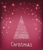 Wesoło bożych narodzeń typografia na wakacyjnym tle z jedlinowym drzewem i światłem, gwiazdy, płatki śniegu ręka patroszona Wekto Zdjęcia Royalty Free