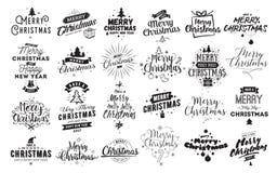 Wesoło bożych narodzeń typograficzni emblematy ustawiający Obrazy Royalty Free