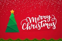 Wesoło bożych narodzeń typographical świąteczny karciany projekt z sezonem życzy Xmas pocztówka z nowego roku drzewem, pisze list ilustracji