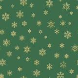 Wesoło bożych narodzeń wakacje, Szczęśliwego nowego roku świętowania złota dekoracja, prosty bezszwowy płatek śniegu wzór Zieleń ilustracja wektor