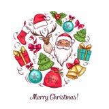 Wesoło bożych narodzeń wakacji kartka z pozdrowieniami ilustracja wektor
