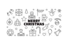 Wesoło Bożych Narodzeń wektorowa Ilustracja Kreatywnie xmas linii sztandar royalty ilustracja