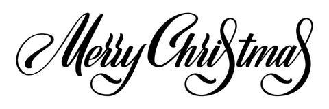 Wesoło bożych narodzeń Wektorowy Kaligraficzny literowanie Czerń na białym powitanie projekcie dla karcianego szablonu Kreatywnie royalty ilustracja