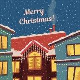 Wesoło bożych narodzeń wektoru karta w półgłośnych retro kolorach Zima opad śniegu i miasteczko Ilustracji