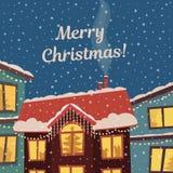Wesoło bożych narodzeń wektoru karta w półgłośnych retro kolorach Zimy miasteczko w bożonarodzeniowe światła i opadzie śniegu Ilustracji