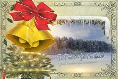 Wesoło bożych narodzeń wiadomość z dzwonami, choinką i zima losem angeles, fotografia royalty free