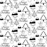Wesoło bożych narodzeń wzór Z Czarny I Biały górą, drzewem, Śnieżnym mężczyzna I rogaczem, ilustracji
