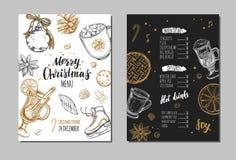 Wesoło bożych narodzeń zimy świąteczny menu pojęcia projekta restauraci szablon Ilustracja Wektor