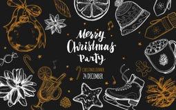 Wesoło bożych narodzeń zimy świąteczny menu Projekta szablon 3 Ilustracji