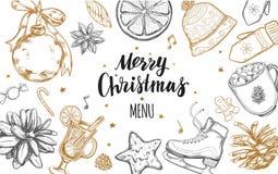 Wesoło bożych narodzeń zimy świąteczny menu Projekta szablon 2 Ilustracji