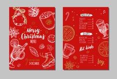 Wesoło bożych narodzeń zimy świąteczny menu Projekta szablon 1 Ilustracji