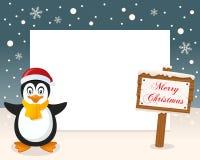 Wesoło bożych narodzeń znaka pingwin & rama Zdjęcia Royalty Free