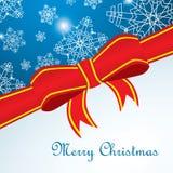Wesoło Cristmas karta z płatkiem śniegu i czerwień faborkiem Zdjęcie Royalty Free