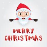 Wesoło kartka bożonarodzeniowa, Święty Mikołaj z dużym signboard Obraz Royalty Free