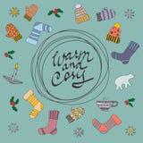 Wesoło kartka bożonarodzeniowa Ciepły i cosy również zwrócić corel ilustracji wektora Zdjęcia Stock