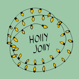 Wesoło kartka bożonarodzeniowa holly byczy również zwrócić corel ilustracji wektora Zdjęcie Royalty Free