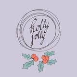 Wesoło kartka bożonarodzeniowa holly byczy również zwrócić corel ilustracji wektora Fotografia Royalty Free