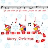 Wesoło kartka bożonarodzeniowa, powiedział dźwięczenie dzwonów piosenki ptaki Fotografia Stock