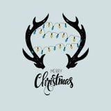 Wesoło kartka bożonarodzeniowa również zwrócić corel ilustracji wektora Fotografia Stock