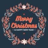 Wesoło kartka bożonarodzeniowa, szczęśliwa nowy rok karta, boże narodzenie wianek - wektorowa ilustracja Fotografia Royalty Free