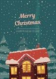 Wesoło kartka bożonarodzeniowa w półgłośnych retro kolorach Domowy cowerd z śniegiem w bożonarodzeniowe światła i opadzie śniegu Ilustracja Wektor