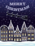Wesoło kartka bożonarodzeniowa z Święty Mikołaj i reniferową komarnicą Fotografia Royalty Free