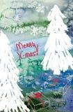 Wesoło kartka bożonarodzeniowa z choinkami i prezentami fotografia royalty free
