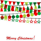 Wesoło kartka bożonarodzeniowa z chorągiewką i girlandami Obrazy Royalty Free