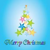 Wesoło kartka bożonarodzeniowa z drzewem robić od gwiazd Obrazy Stock