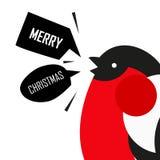 Wesoło kartka bożonarodzeniowa z gilem Płaski projekt Fotografia Stock
