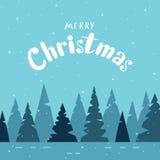 Wesoło kartka bożonarodzeniowa z nowożytnym kaligrafii i zimy lasem o Obrazy Stock