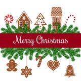 Wesoło kartka bożonarodzeniowa z piernikowymi postaciami Zdjęcie Stock