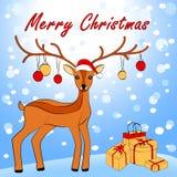 Wesoło kartka bożonarodzeniowa z rogaczem Zdjęcie Royalty Free