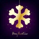 Wesoło kartka bożonarodzeniowa z złocistym płatkiem śniegu na ciemnym tle Obrazy Stock