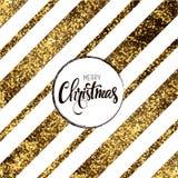 Wesoło kartka bożonarodzeniowa z złotymi diagonalnymi liniami również zwrócić corel ilustracji wektora Zdjęcia Stock