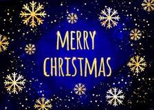 Wesoło kartka bożonarodzeniowa z złotymi płatkami śniegu tło abstrakcyjna zimy Łatwy nowożytny szablon Zdjęcie Stock