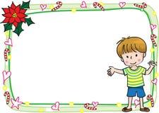 Wesoło kartki bożonarodzeniowa granicy rama Fotografia Royalty Free