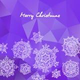 Wesoło kartki bożonarodzeniowa i płatka śniegu dekoraci tło również zwrócić corel ilustracji wektora Zdjęcie Stock
