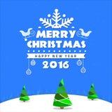 Wesoło kartki bożonarodzeniowa nieba drzewna gwiazda Fotografia Stock