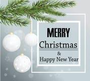 Wesoło kartki bożonarodzeniowa tła Bożenarodzeniowe piłki i jedlina Fotografia Stock