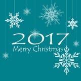 Wesoło kartki bożonarodzeniowa Xmas dekoracje płatki śniegu wektor obrazy royalty free