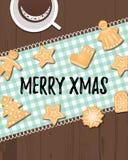 Wesoło Xmas tekst z zima wakacji tradycyjnymi ciastkami fotografia royalty free