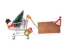 Wesoło Xmas! Zaskakuje ostatniego sezonowego sprzedaży zabawki flier broszurki pojęcie Boczny profilu zakończenie w górę fotograf zdjęcia royalty free