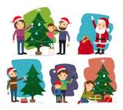 wesołych Świąt Święta dekoruje drzewa ilustracji