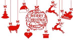 wesołych Świąt Święty Mikołaj kapelusz, rogacze, serce, prezent, świnia i choinka, Cięcie z papieru ilustracja royalty ilustracja